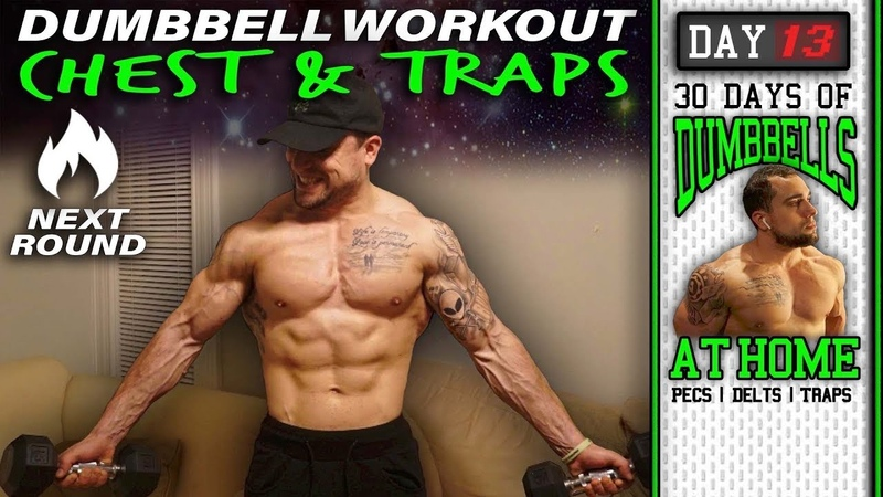 Home Dumbbell Chest Traps Workout 30 Days to Build Pecs Delts Trap Muscles Dumbbells Only