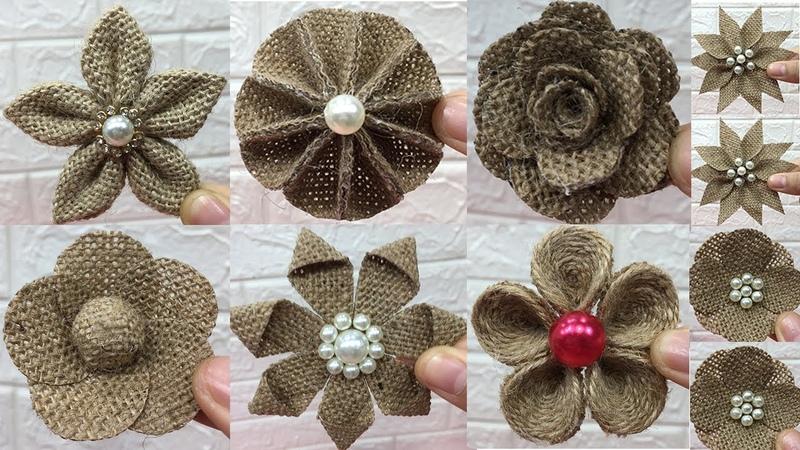 10 Easy burlap flowers tutorial   Jute craft flower   2