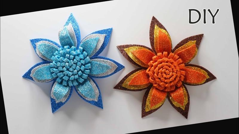 DIY How to make Eva Foam Flower Glitter Foam Foamiran Cara membuat bunga busa glitter