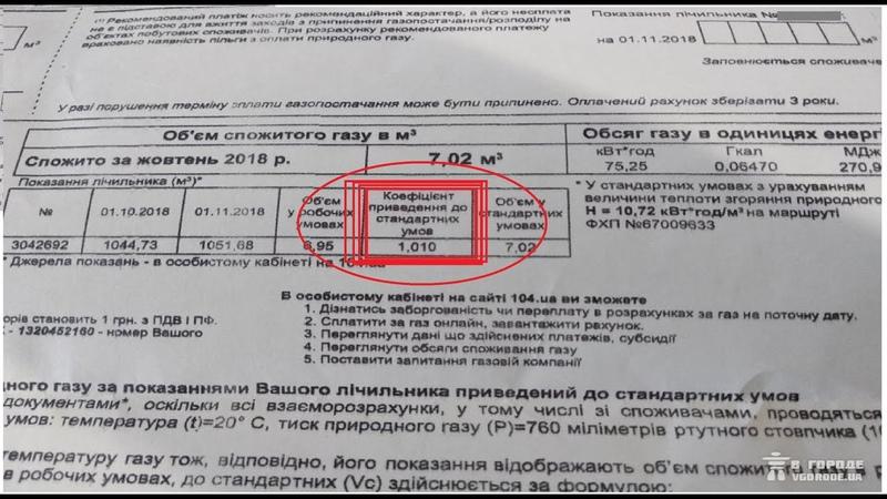 Кофіцієни газових платіжок ЯК ДОДАТКОВА ВАРТІСТЬ