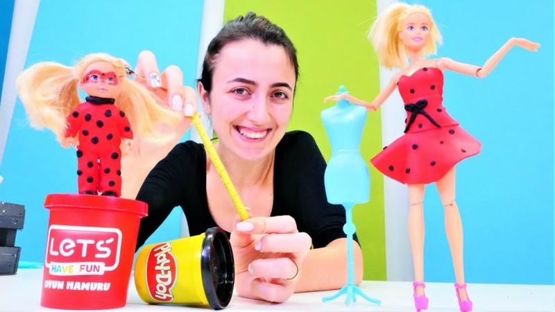 Barbie kız oyunları Sevcan Barbie ve Steffie için Uğurböceği kostümü yapıyor