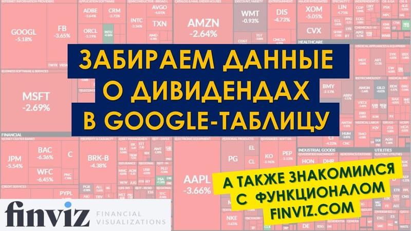 FINVIZ ЛУЧШИЕ ДИАГРАММЫ СКРИНЕР Получаем данные о дивидендах и не только себе в Google Таблицу