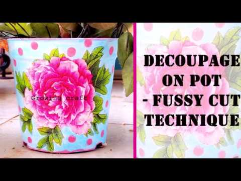 DECOUPAGE FOR BEGINNERS♥DECOUPAGE ON POT♥DECOUPAGE WITH NAPKIN♥GROWING CRAFT♥HANDMADE GIFTS