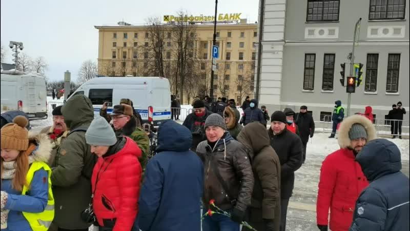 Митинг КПРФ 23 февраля 2021 го года Санкт Петербург у крейсера Аврора