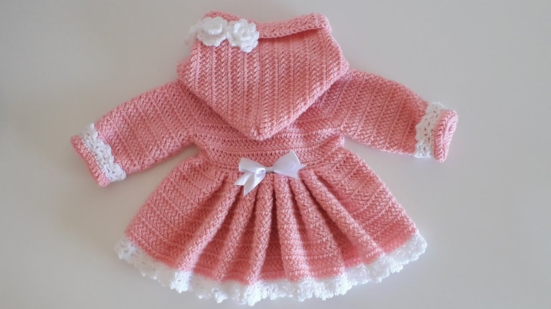 Crochet 17 How to crochet a hooded coat for a baby girl PART1