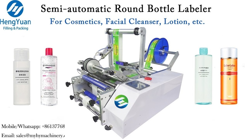 Desktop Semi automatic Round Bottle Labeling Machine for Cosmetics Facial Cleaner Lotion etc