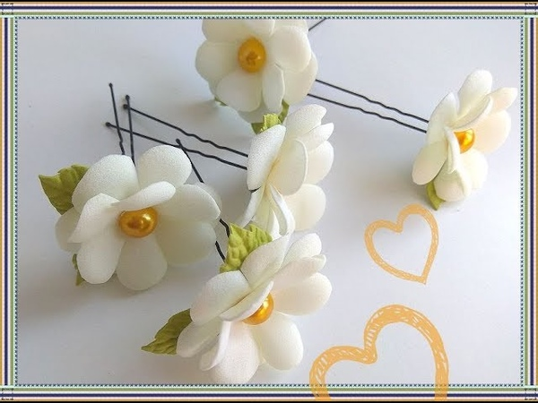 Простые Милые Цветы из фоамирана на шпильке