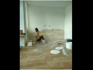 Руками жены отделка стены плиткой под песчаник - Ярослав Сиплатов -