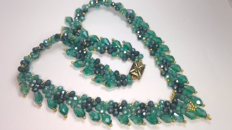 Kristal boncukdan kolye yapımı Колье из кристалей Crystal beads necklace