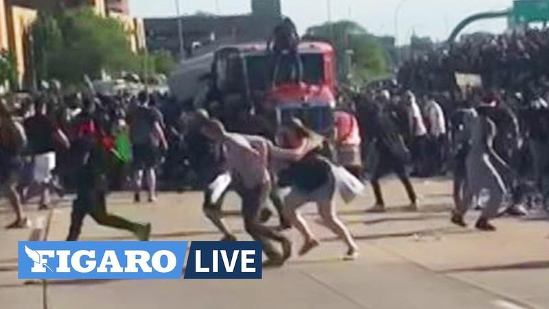 Un camion fonce dans la foule de manifestants à Minneapolis après la mort de George Floyd
