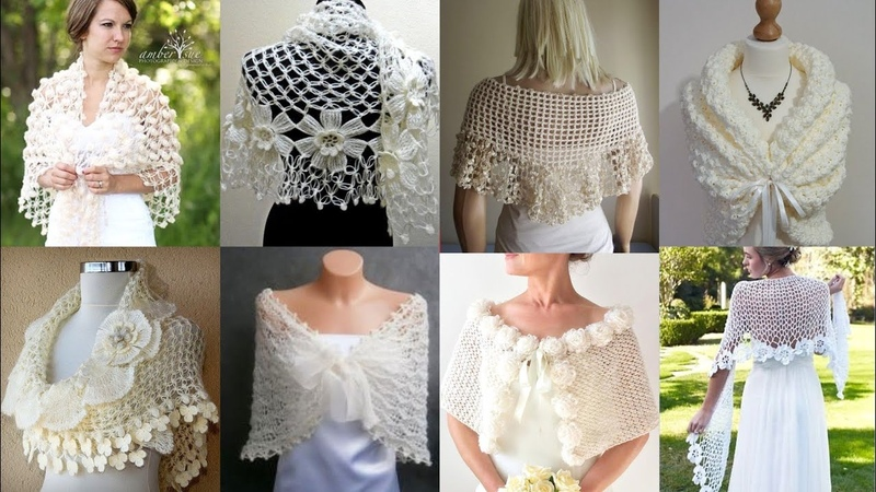 Stylish Crochet Lace Flower Caplet Shawal Scarf Designs Patterns For Ladies 2k20 Bridal Shawal