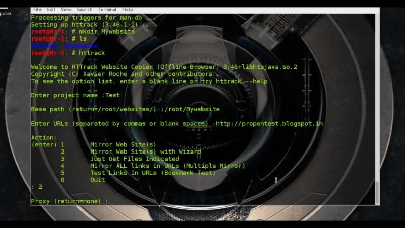 Web pentest Clonning Websites using HTTrack