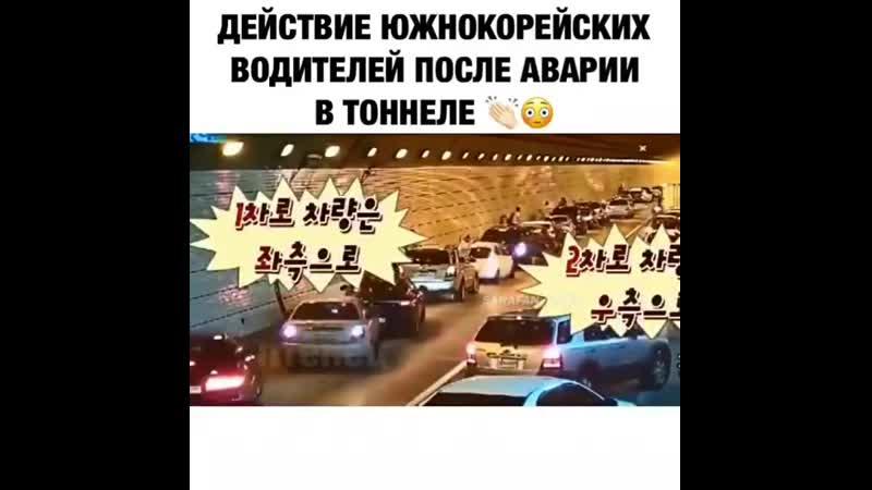 Действие южнокорейских водителей после аварии в тоннеле