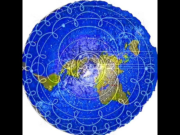 The Geocentric Eccentric Azumuthal equidistant map overlayed with the Ptolemaic geocentric model a