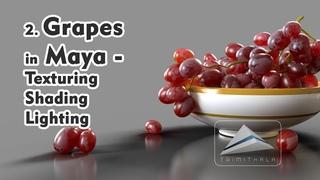 2. Creating Grapes in Maya | Texturing Shading Lighting  | Learn Maya Step by Step