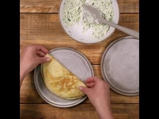 Блинчики с сырной начинкой  одни из самых вкусных